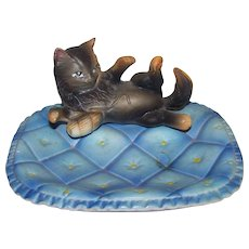 Vintage Napco Made in Japan Tortoiseshell & White Cat Figural Soap Dish