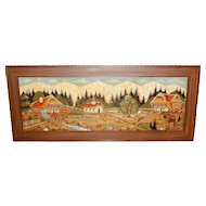 Vintage Black Forest Hand Carved 3D Wood Picture