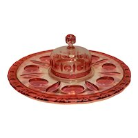 Vintage Indiana Glass Ruby Red Flashed Colony Classique Covered Serving Tray or Cheese Dish