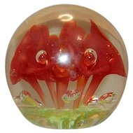 Vintage Handmade St Clair Red Trumpet with Controlled Bubbles Paperweight