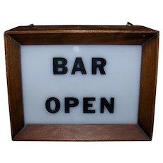 Vintage Lighted Bar Open Sign
