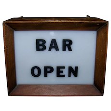 Vintage Lighted Bar Open Sign