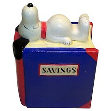 Vintage Cartoonist Charles Schultz Ceramic Figural Snoopy Coin Bank