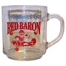 Vintage Seagram's Red Baron Gin Handled Glass
