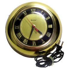 Vintage United Clock Company Brass Wall Clock