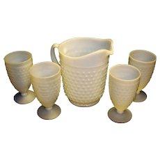 Vintage Anchor Hocking Hobnail Milk Glass Pitcher and Footed Goblet Set