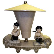 Vintage 1950's Mid-Century Asian Figural Television Lamp