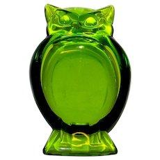 Vintage Viking Glass Avocado Green Epic Owl Ashtray