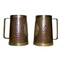 Vintage Hammered Copper Handled Mugs With Aztec Calendar