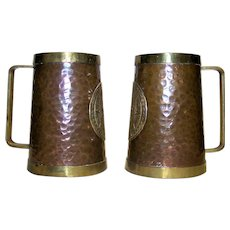 Vintage Hammered Copper Handled Mugs With Aztec Calendar