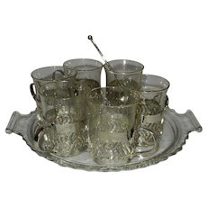 Vintage Silver Plated Hot Toddy Demitasse Glass Holders with Tray and Spoon