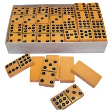 Vintage Silver-Brand Celluloid Double Nine Domino Set