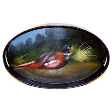 Vintage Hand Painted Pheasant Wooden Lacquered Service Tray