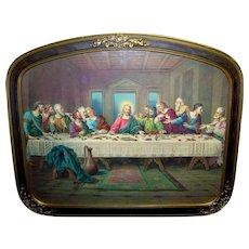 Vintage H. Zabateri Framed Lithographic Print Of Leonardo da Vinci Last Supper