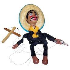 Vintage Mexican Poncho Villa Marionette Doll
