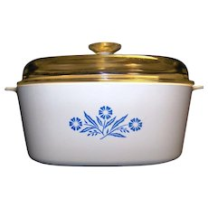 Vintage CorningWare Cornflower Blue Lidded Square Casserole Dish
