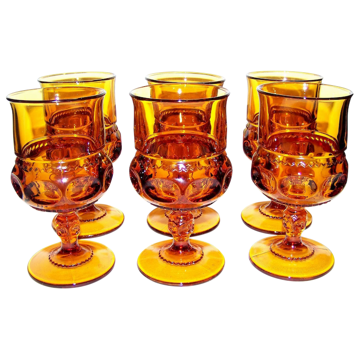 Vintage Colony Crystal Color Crown Amber Water Goblet