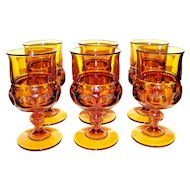 Vintage Indiana Glass Company Colony Kings Crown Water Goblet Set