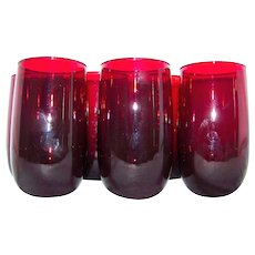 Vintage Anchor Hocking Roly Poly Royal Ruby Red Flat Tumblers
