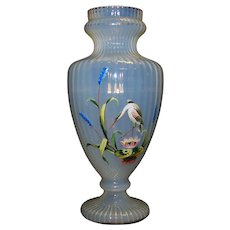 Vintage Fluted Opaque Hand Painted Glass Floral Vase