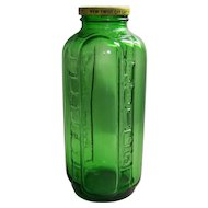 Vintage Owens-Illinois Glass Company Green Glass Refrigerator Juice And Water Jar