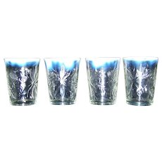 Vintage EAPG Northwood Opalescent Clear Flat Glass Tumblers