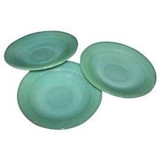 Vintage Anchor Hocking Jane Ray Jade-ite Cup Saucers