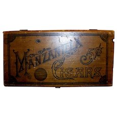 Vintage Wooden Manzanilla Five-Cent Cigar Box