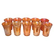 Vintage Federal Glass Company Fruit Lustre Glass Tumblers