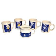 Vintage Morton Salt Girl Coffee Cup Set With Creamer