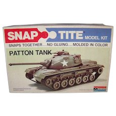 Vintage 1974 Monogram Patton Tank Snap-Tite Hobby Model
