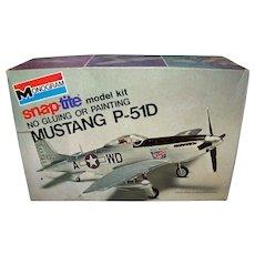 Vintage 1974 Monogram Mustang P-51D Airplane Model Kit Box