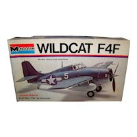 Vintage 1973 Monogram Wildcat F4F Airplane Model Kit