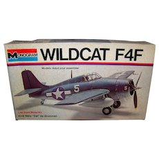 Vintage 1973 Monogram Wildcat F4F Airplane Model Kit