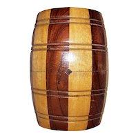 Vintage Wooden Barrel Cigar Canister