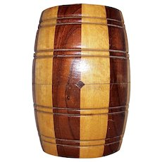 Vintage Wooden Barrel Cigar Canister