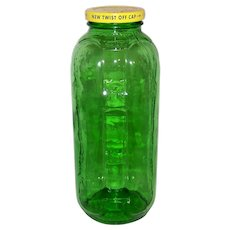 Vintage Owens- Illinois Glass Company Green Glass Juice & Water Refrigerator Jar