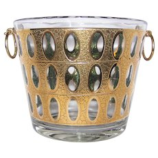 Vintage 1940's-1950's Signed Culver Antigua Glass Ice Bucket