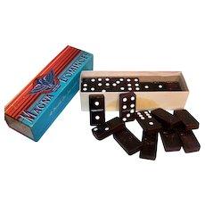 Vintage Milton Bradley Magna Double Six Dominoes Set