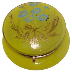 Vintage Bohemian Enameled Opalescent Yellow Glass Powder Jar
