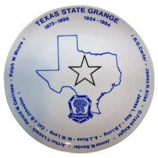 Vintage Texas State Grange Commemorative Plate