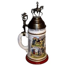 Vintage Reproduction Porcelain German Regimental Cavalry Lithophane Beer Stein