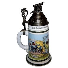 Vintage Reproduction Porcelain German Regimental Artillery Lithophane Beer Stein