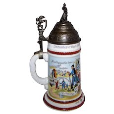 Vintage Reproduction Porcelain German Regimental Infantry Lithophane Beer Stein