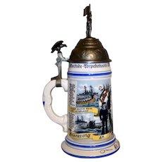 Vintage Re_issue Porcelain German Regimental Navy Lithophane Beer Stein