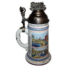 Vintage Reproduction Porcelain German Regimental Engineers Lithophane Beer Stein
