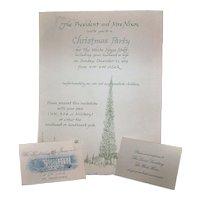 Vintage Richard M. Nixon & Pat Nixon Presidential White House Christmas Party Invitation