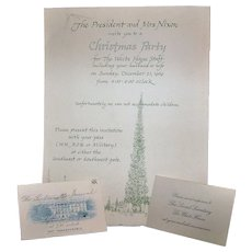 Vintage Richard M. Nixon & Pat Nixon Presidential White House Christmas Party Invitation