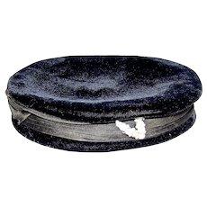 Vintage 1940's Cheqiere Ladies Black Crushed Velvet Jeweled Beret Hat