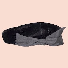 Vintage 1940's Modern Miss Black Crushed Velvet Ladies Beret Hat